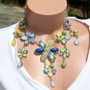 Boho Necklace Hues of Blue Green Flower Statement